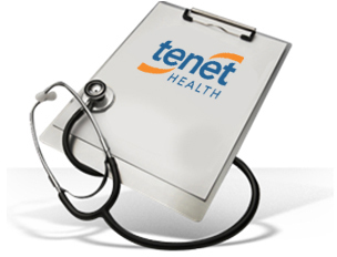 Clipboard with a stethoscope over it and Tenet's logo.